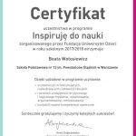 Beata Wołosiewicz-certyfikat